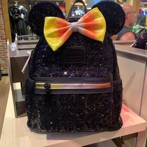 Black halloween Minnie Mouse sequin Backpack